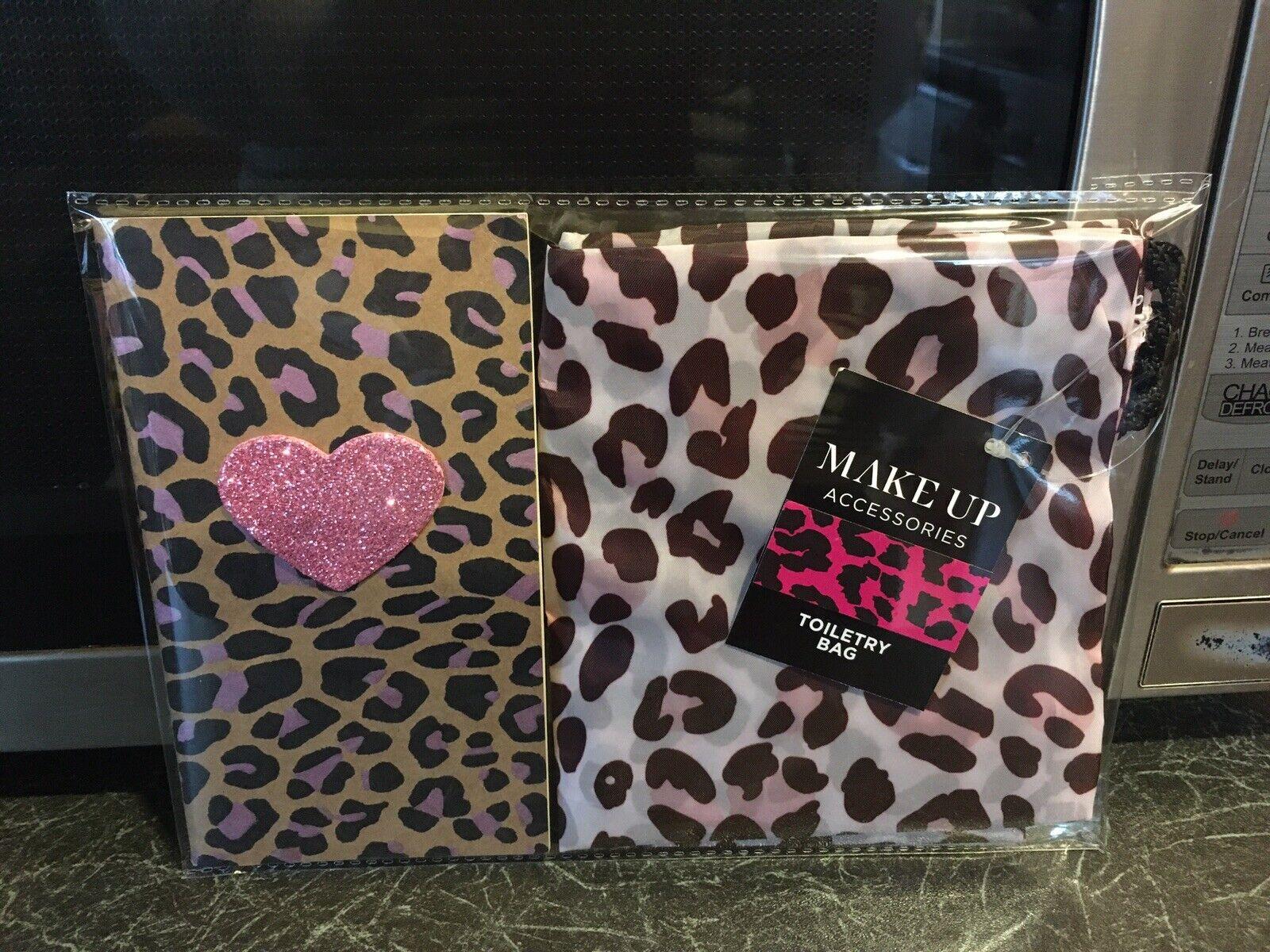 Retro Rockabilly Pink Leopard Print Toiletry Bag +Heart Notebook 2pc Gift Set