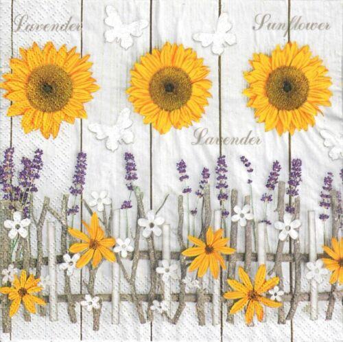 4single paper decoupage napkins sunflower sunflowers 805 Lavender Letters