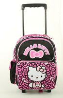 Hello Kitty 12 Rolling Backpack School Roller Backpack Ribbons Black/pink
