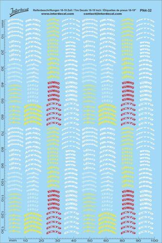 PN04-32 Tyre Sponsor Decals 04 1//32 100 x 150 mm