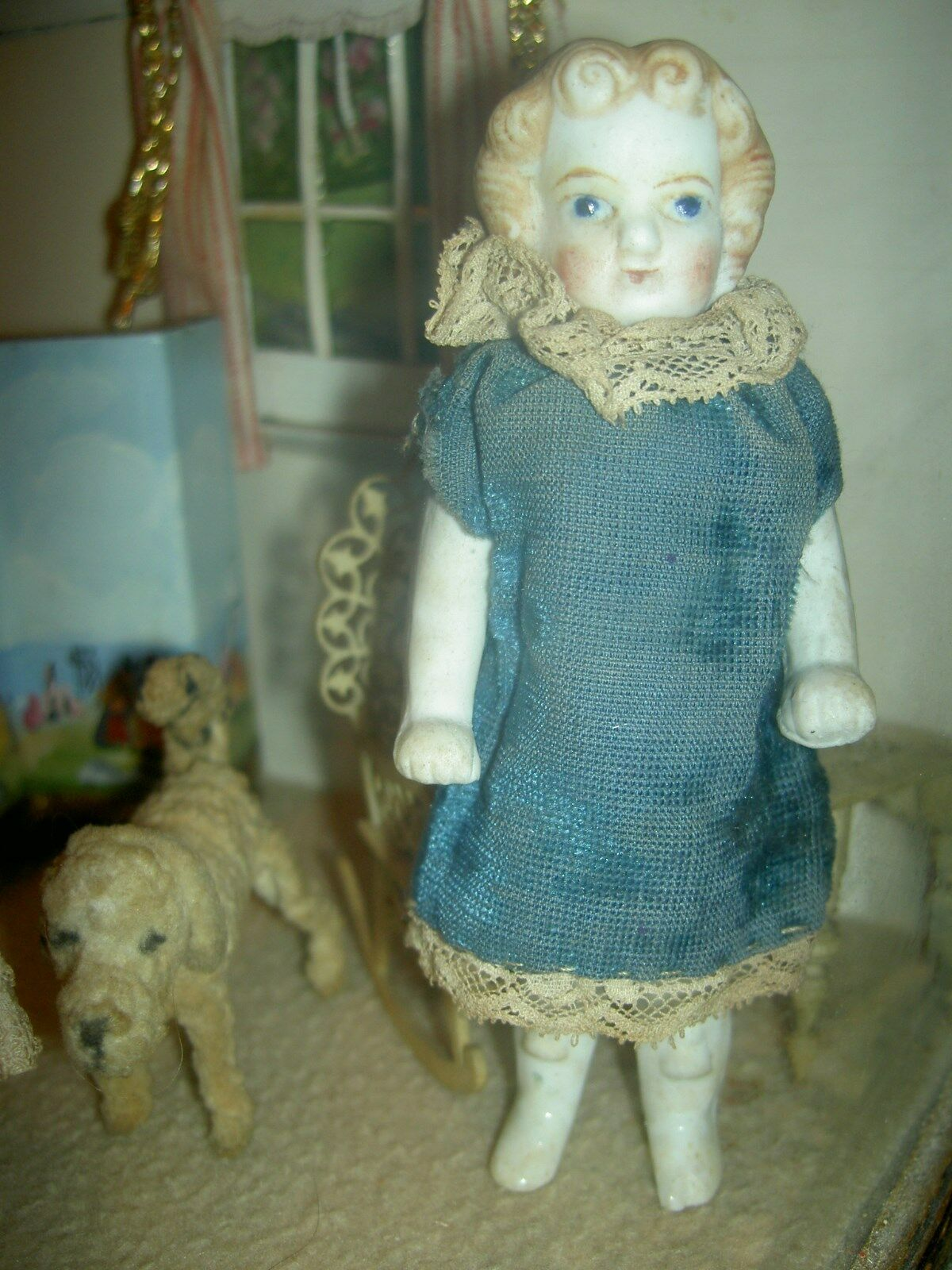 SWEET early German, wire jt'd. parian all bisque dollhouse doll with molded hair