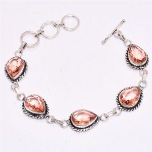 Wonderful-Morganite-Gemstone-925-Streling-Silver-Bracelet-7-8-034