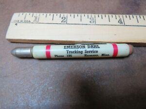 Vintage advertising Pencil Bullet Emerson Dahl Trucking service Harmony Minn