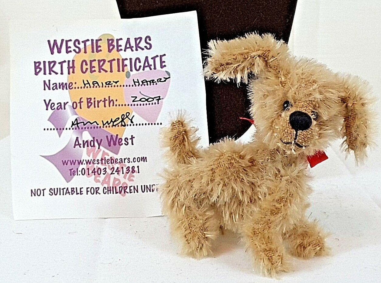 Collectors Bear Hairy Harry by Andy West of Westie Bears OOAK Jointed Mohair Dog