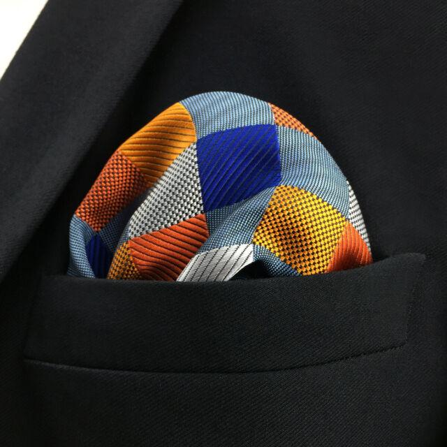 SHLAX/&WING Fashion Blue Silk Pocket Square for Men Classic Checks Hanky