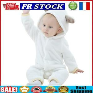 Cute Bear Baby Rompers Snap Buttons Winter Hooded Jumpsuit (White 18-24M)