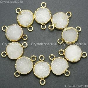 Natural-Druzy-Quartz-Agate-Round-Connector-Charm-Pendant-Healing-Beads-Gold-16mm