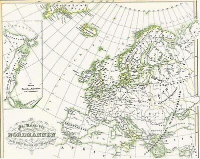 Besorgt ????⚔️????165 Jahre Alte Landkarte Wikinger Vikings Vikingar Normannen Nordmeen 1854