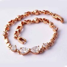 Fashion Real 14K Rose Gold Filled Charm Womens Drop Crystal Heart Chain Bracelet