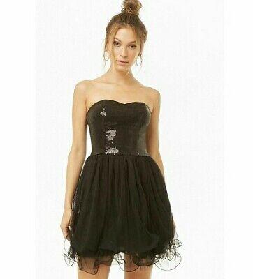 Black Strapless Dress Sz M Sequin