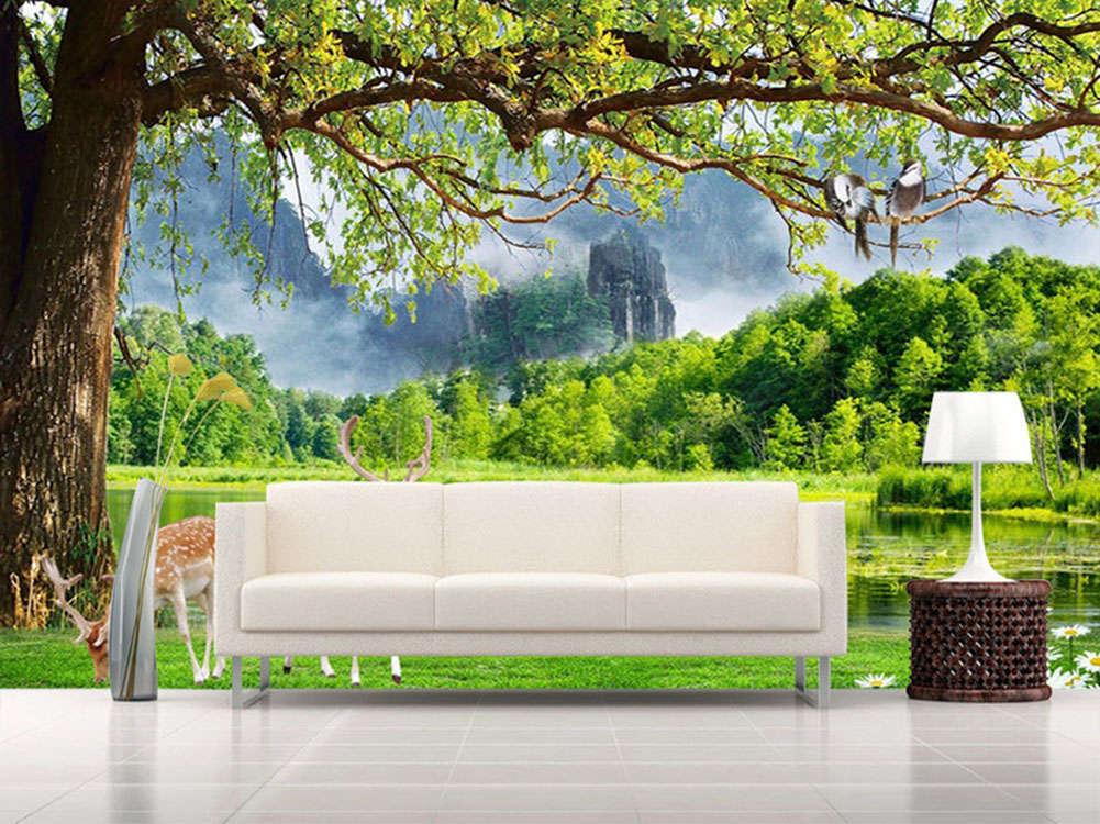 Grün Vivid Forest 3D Full Wall Mural Photo Wallpaper Printing Home Kids Deco