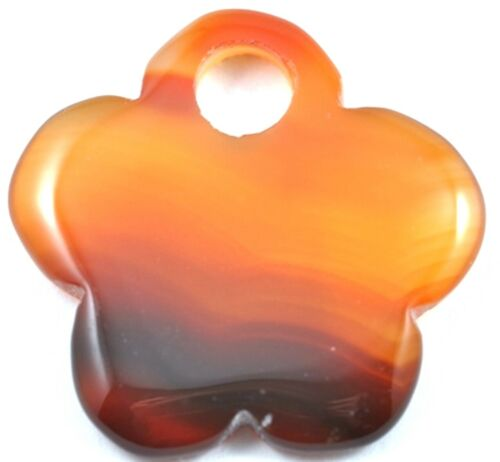 1 x Natural Beautiful Agate Gemstone Flower Pendant Focal Bead 36mm Big Hole