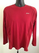Asice Men athletic sport shirt long sleeve, Red Color ,See Dimension SXS