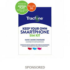 Tracfone Prepaid Wireless Smartphone SIM+Plan-1200 Min,1200 Txt, 3GB Data