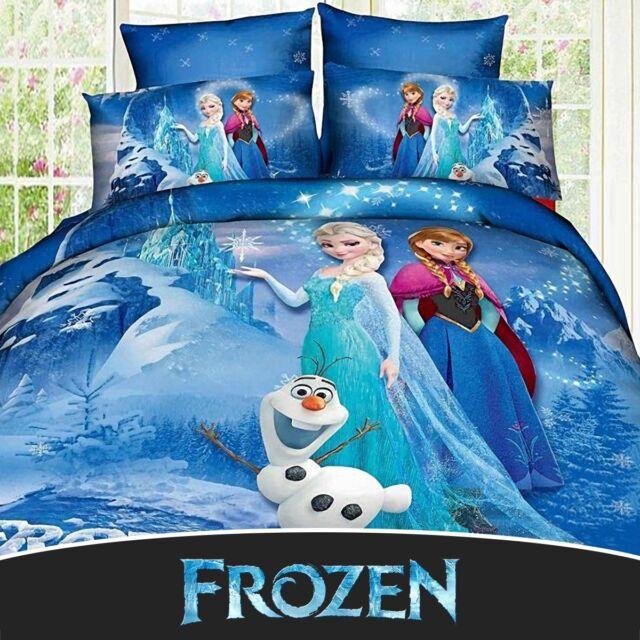 Disney Frozen Anna Elsa 100% Cotton Twin Full Quilt Duvet Cover Bedding Set Blue