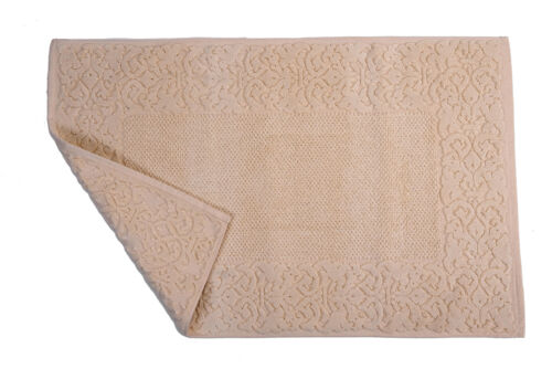 Cotton Bathroom Rug Made in Italy-down shower mat towelling in Relief