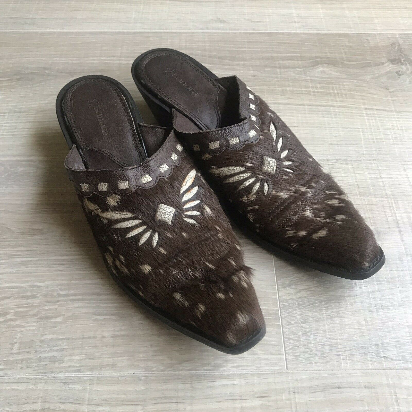 SONORA Double H Cowboy Booties 7 Butterfly Clogs Mules shoes Bovine Hair Leather