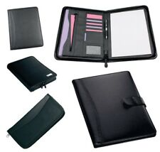 A4 Executive Black Conference Folder Zip Calculator Pad 4d Ring Binder Work New