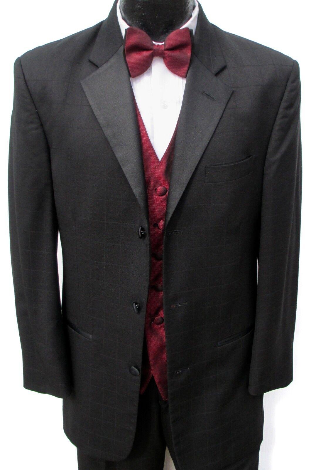 39R Mens Tuxedo Jacket & Pant Suit Overstock Sale Black Patterned Tux Prom Party
