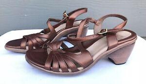 Dansko-Women-Copper-Brown-Metallic-Strap-Slingback-Heel-Sandals-US-7-5-8-EU-38