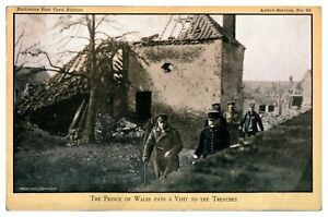 Antique-WW1-military-postcard-The-Prince-of-Wales-Pays-A-Visit-To-The-Trenches