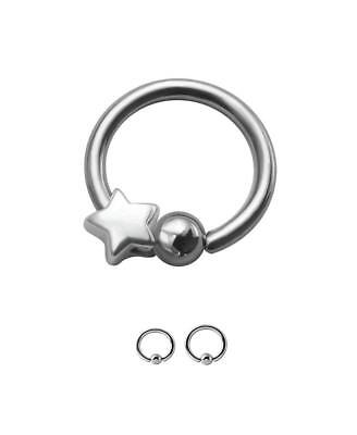 Surgical Steel Bow Captive Bead Charm Ear Nose Septum Hoop Ring 20G 18G 16G