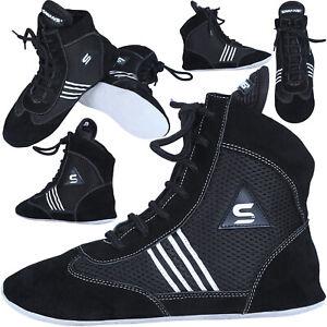 Sawans ® Boxe Lutte Chaussures En Daim Cuir Poids Léger Bottes Rembourrage Maille Mma