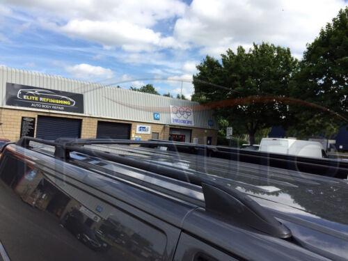 BLACK LOCKABLE CROSS BARS 2012 ONWARDS LWB FORD TRANSIT CUSTOM ROOF RAIL BARS
