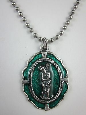 """Sterling Silver Saint St Christopher Oval Blue Inlay Pendant on 24/"""" Chain"""
