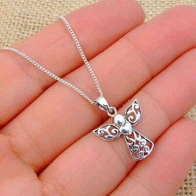 925 Sterling Silver Guardian Angel Pendant without a Chain Necklace