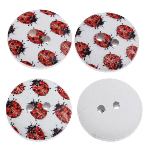 Ladybug design Buttons 18mm Sewing Scrapbook Crafts Freeuk post 20 Red Ladybird