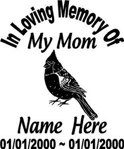 In Loving Memory Of Mom Bird CARDINAL Decal Window Sticker Custom - Window decals in memory of