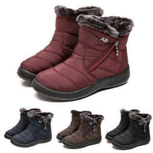 Waterproof-Winter-Women-Shoes-Snow-Boots-Fur-lined-Slip-On-Warm-Ankle-Size-US
