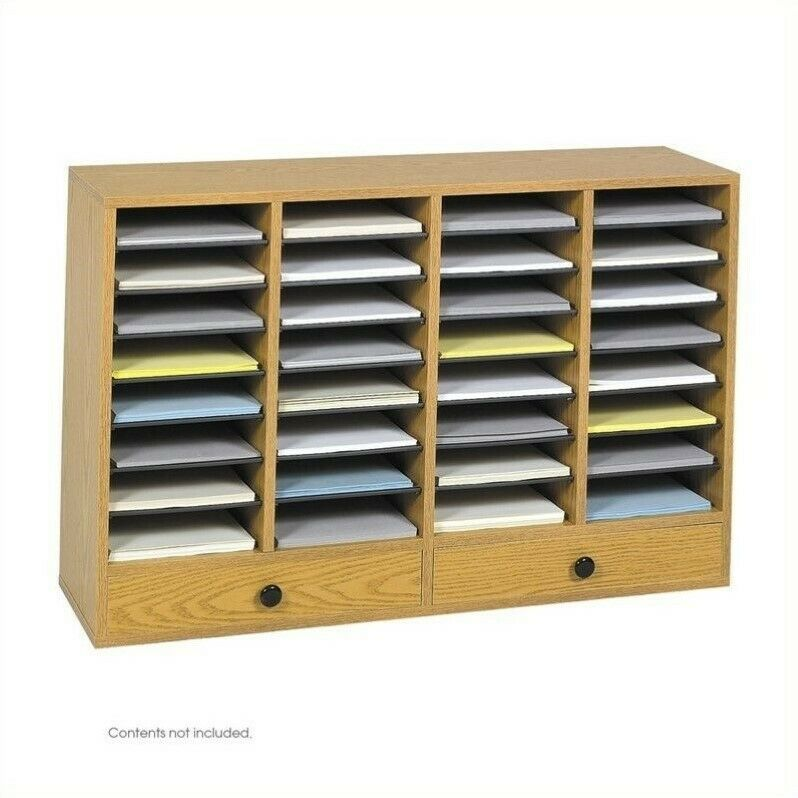 Pemberly Row Medium Oak Wood Adjustable 32 Compartment File Organizer
