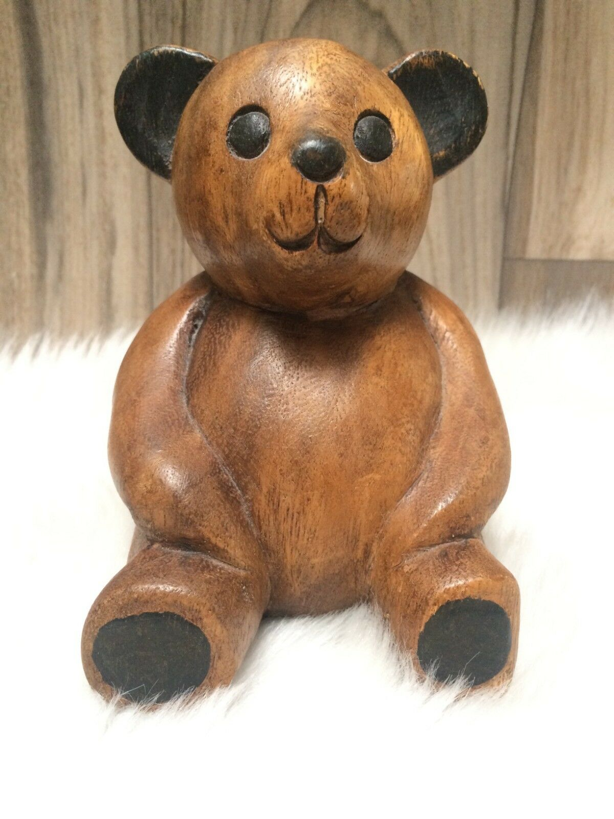 Wooden Teddy Bear Hand Carved Made In Thailand
