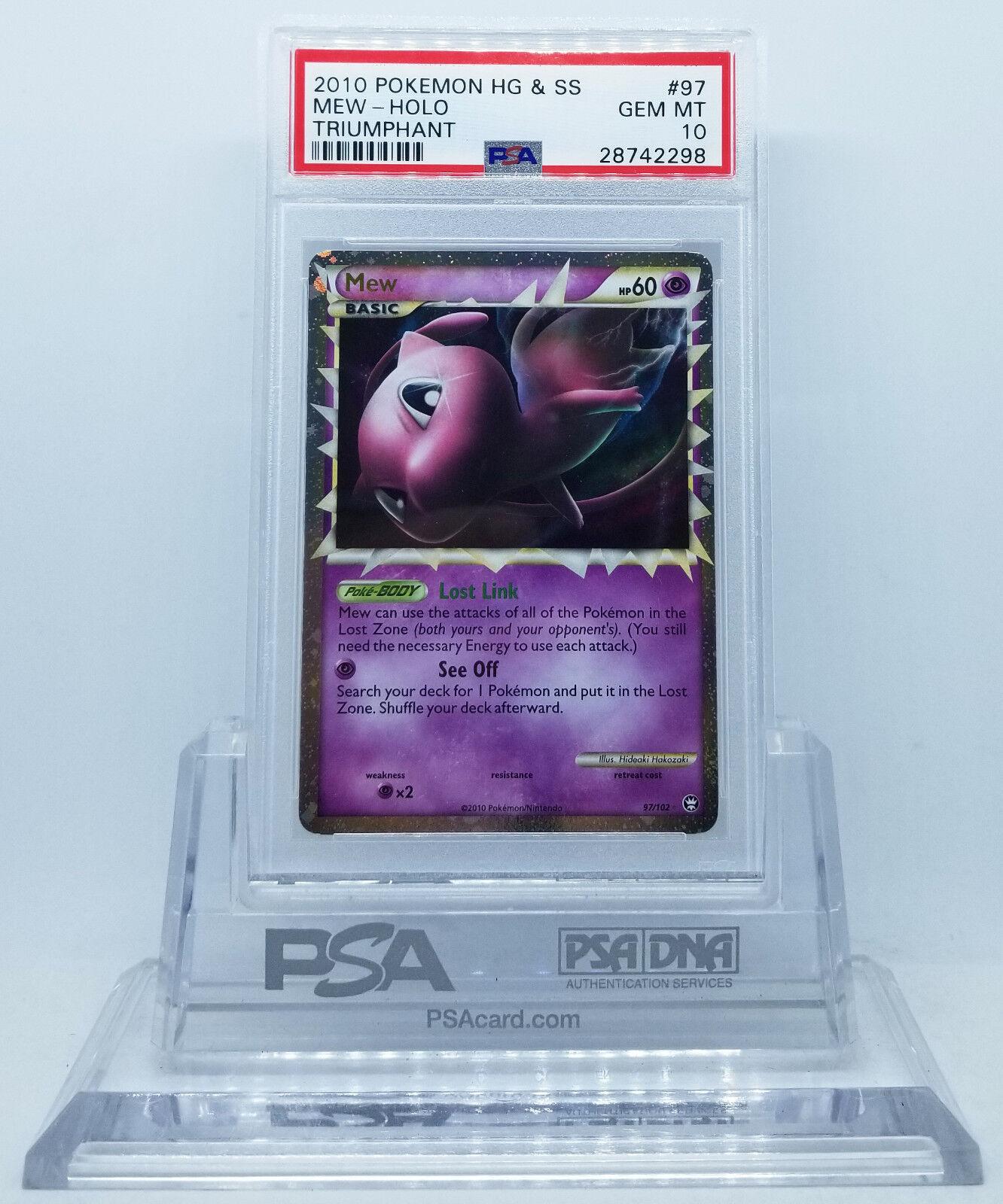 Pokemon HGSS HGSS HGSS TRIUMPHANT MEW PRIME 97 102 HOLO FOIL CARD PSA 10 GEM MINT   41b432
