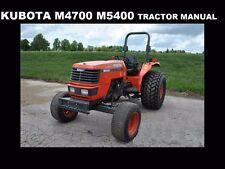 KUBOTA M4700 M5400 OPERATIONS MANUAL for M-4700 Diesel Tractor Service & Repair