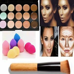 15-Colors-Contour-Face-Cream-Makeup-Concealer-Palette-Powder-Brush-Sponge-Puff