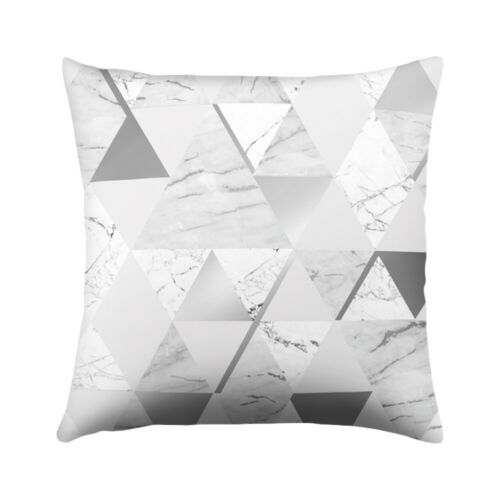 "18/"" Square Silver Gray Geometric Pillow Case Sofa Throw Cushion Cover Home Decor"