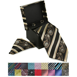 Berlioni-Italy-Men-039-s-Pure-Silk-Neck-Tie-Cuff-Links-Handkerchief-Gift-Set-Box