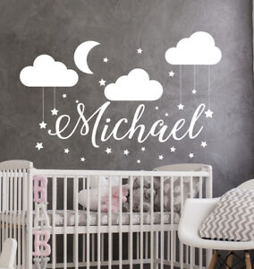 Details About Name Wall Decal Baby Nursery Boy Vinyl Clouds S79