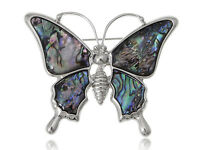 Silver Tone Faux Abalone Shell Wing Flying Queen Butterfly Fashion Brooch Pin