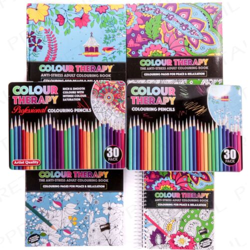 COLOUR YOURSELF CALM RANGE Anti-Stress Adult Colouring Book /& Pencils Relax Calm