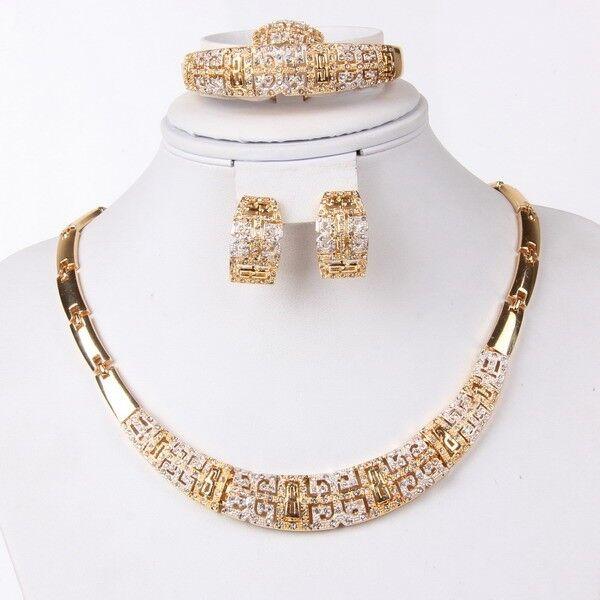 Fashion Jewelry Set Women 18k Gold Plated Necklace Bracelet Earrings Gift Set