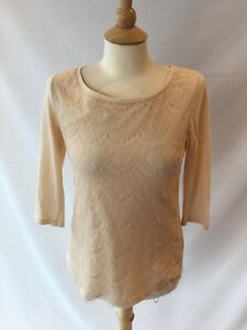 LC-Lauren-Conrad-Women-s-Cream-Lace-Overlay-Top-Tie-Neck-Back-Shirt-Size-Small