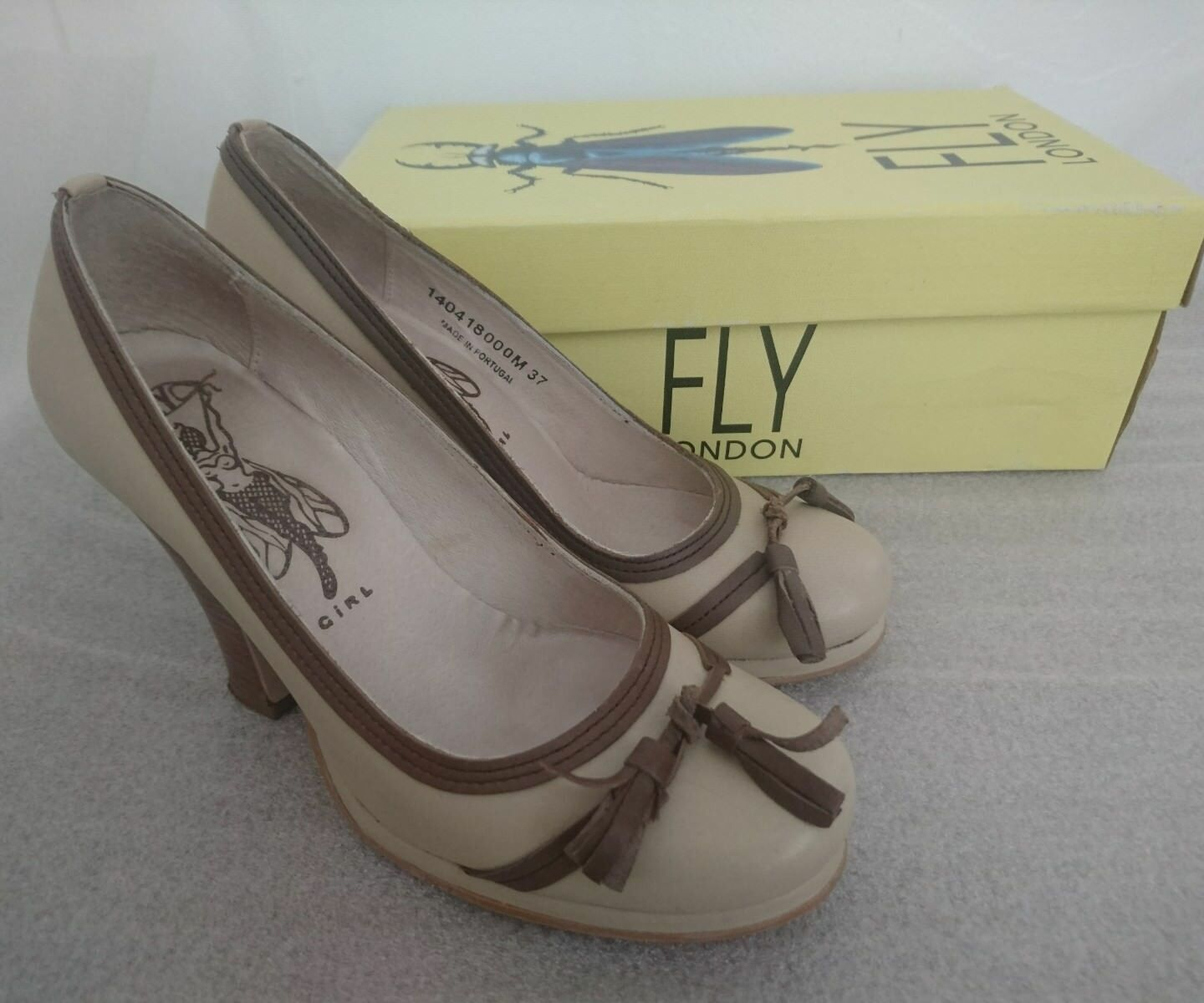 Fly London Girl Brown & Camel Leather Shoes Size 37 / UK 4 Tassel Detail In Box