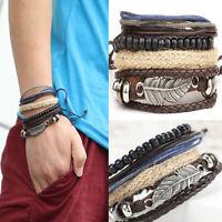 Damen Herren Vintage Leder Armband Wickelarmband Surferarmband Armschmuck