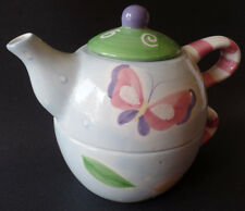 Tea for One Teapot Cup Set Ganz Spring Flowers Butterflies 3 Piece Lid Whimsical