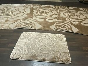 Details About Romany Washable Gypsy Mats 4pcs Set New Xl Rose Design Dark Beige Carpets