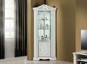 eckvitrine glasvitrine wei silber hochglanz stilm bel aus italien made in italy ebay. Black Bedroom Furniture Sets. Home Design Ideas